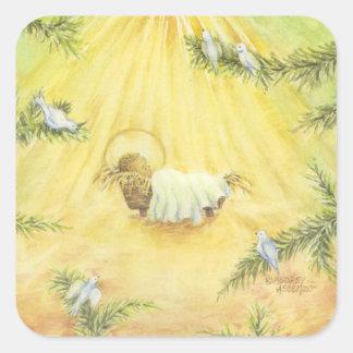 Etiquetas Jesus do Natal no comedoiro com pombas Adesivo Quadrado