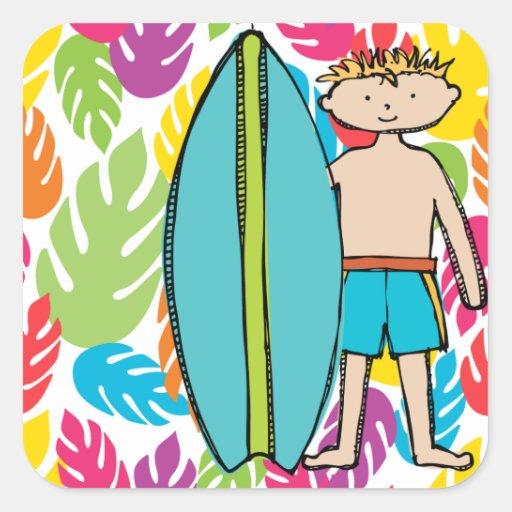 Etiquetas louras do surfista do menino adesivo quadrado