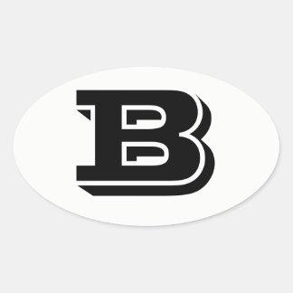 Etiquetas ovais brancas da pia batismal da letra B