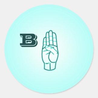Etiquetas pequenas da letra B do linguagem gestual