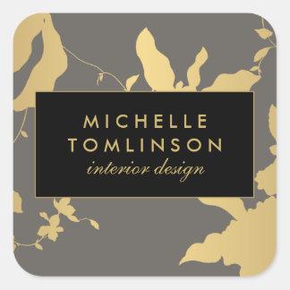 Etiquetas personalizadas do ouro III floral Adesivo Quadrado
