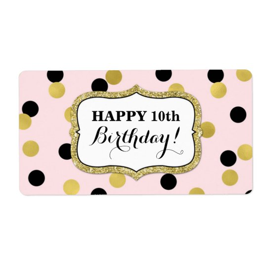 Etiquetas pretas cor-de-rosa do aniversário dos etiqueta de frete