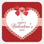 Etiquetas quadradas do amor com coração & arco adesivos quadrados