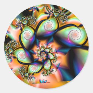 Etiquetas redondas da espiral da arte do Fractal