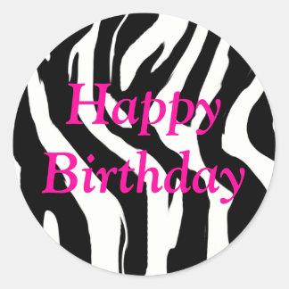 Etiquetas redondas da zebra do feliz aniversario adesivo