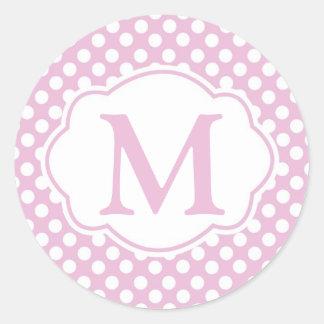 Etiquetas redondas das bolinhas Dotty cor-de-rosa Adesivo
