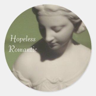 Etiquetas redondas românticas impossíveis adesivo