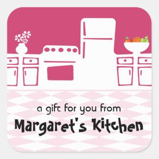 Etiquetas retros do cozimento do cozinhar da adesivo quadrado