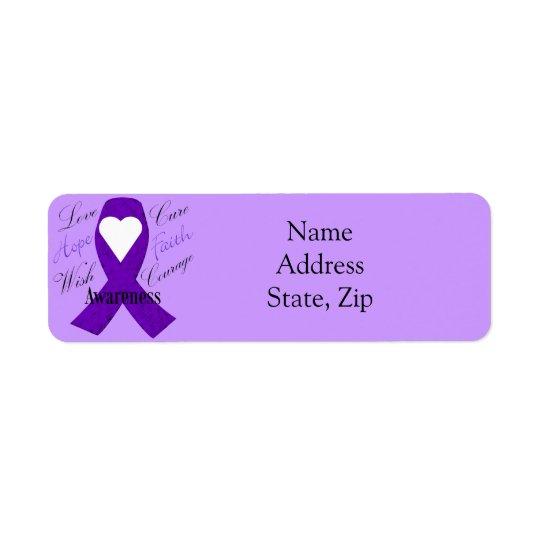 Etiquetas roxas da fita da consciência da fita etiqueta endereço de retorno