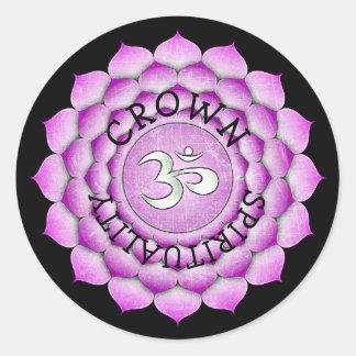 Etiquetas roxas de Chakra da espiritualidade do