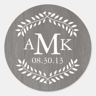 Etiquetas rústicas do monograma do casamento do adesivo