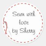 Etiquetas Sewing do amor Adesivo Em Formato Redondo