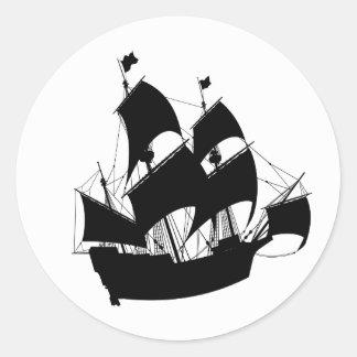 Etiquetas velhas da silhueta do navio adesivo