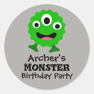 Etiquetas verdes da festa de aniversário do adesivo