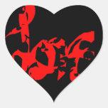 Etiquetas vermelhas e pretas do coração do amor adesivo