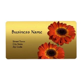 Etiquete a flor elegante da laranja do ouro do ass etiqueta de frete