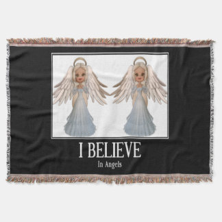 Eu acredito nos anjos throw blanket