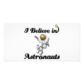 eu acredito nos astronautas cartões com foto personalizados