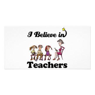 eu acredito nos professores cartão com foto