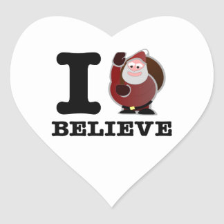 Eu acredito (o papai noel é real) adesivos de corações