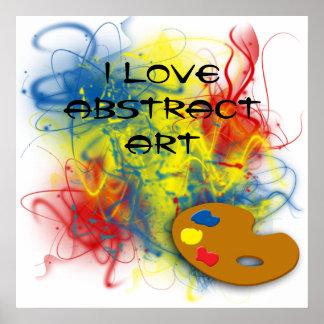 Eu amo a arte abstracta pôsteres