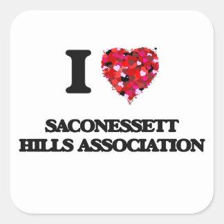 Eu amo a associação Massachusetts das colinas de Adesivo Quadrado