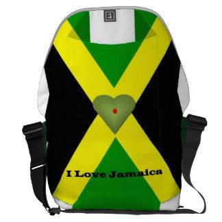 Eu amo a bolsa mensageiro do rickshaw de Jamaica