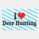 Eu amo a caça dos cervos adesivos retangulares