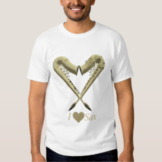 Eu amo a camisa do saxofone T, ouro na luz T-shirts