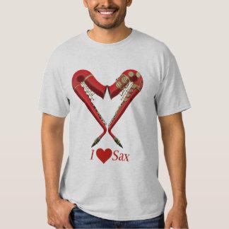 Eu amo a camisa do saxofone T, vermelha na cinza Tshirts