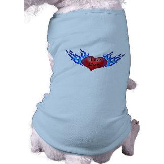 Eu amo a camiseta de cão Tattooed mamã do coração Camisa Sem Mangas Para Cachorro