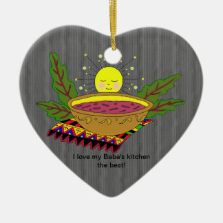 Eu amo a cozinha do meu babá ornamento de cerâmica coração