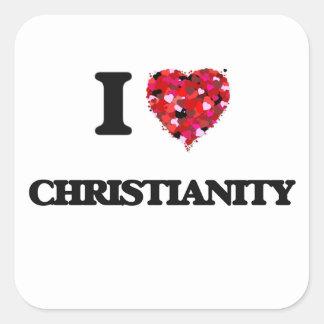 Eu amo a cristandade adesivo quadrado