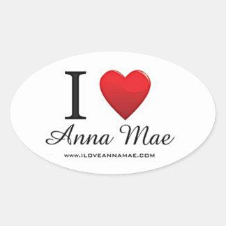 Eu amo a etiqueta de Anna Mae Adesivo Oval