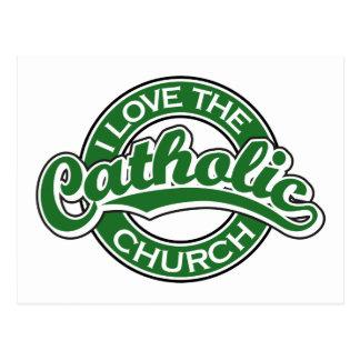 Eu amo a igreja Católica no verde Cartao Postal