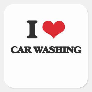 Eu amo a lavagem do carro adesivos quadrados