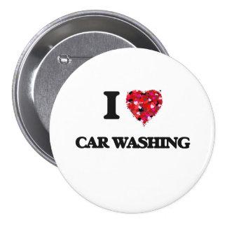 Eu amo a lavagem do carro bóton redondo 7.62cm