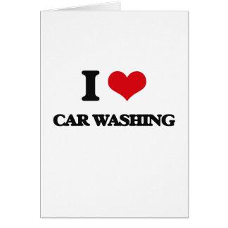 Eu amo a lavagem do carro cartão