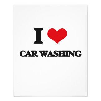 Eu amo a lavagem do carro modelos de panfleto