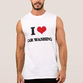 Eu amo a lavagem do carro camisa sem manga