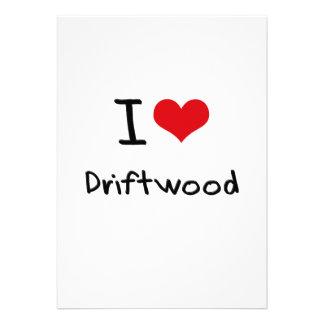 Eu amo a madeira lançada costa convite personalizados