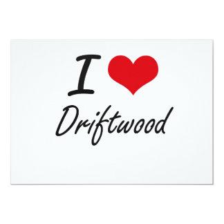 Eu amo a madeira lançada costa convite 12.7 x 17.78cm