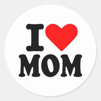 Eu amo a mamã adesivo em formato redondo