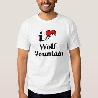 Eu amo a montanha do lobo camisetas