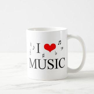 Eu amo a música caneca de café