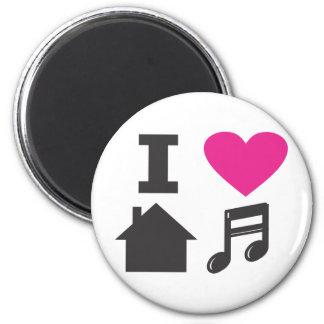 Eu amo a música da casa ímã redondo 5.08cm
