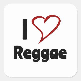Eu amo a reggae adesivos quadrados