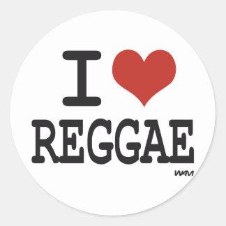 Eu amo a reggae adesivo redondo