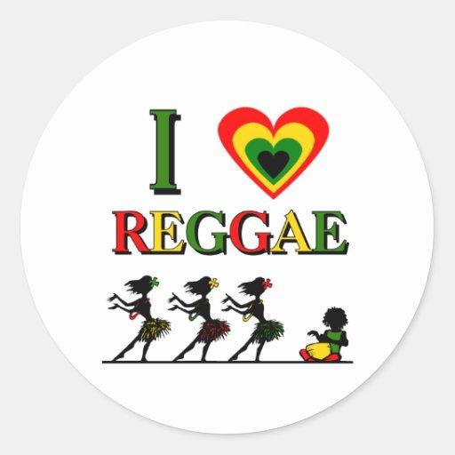 Eu amo a reggae adesivos em formato redondos