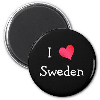 Eu amo a suecia ímã redondo 5.08cm